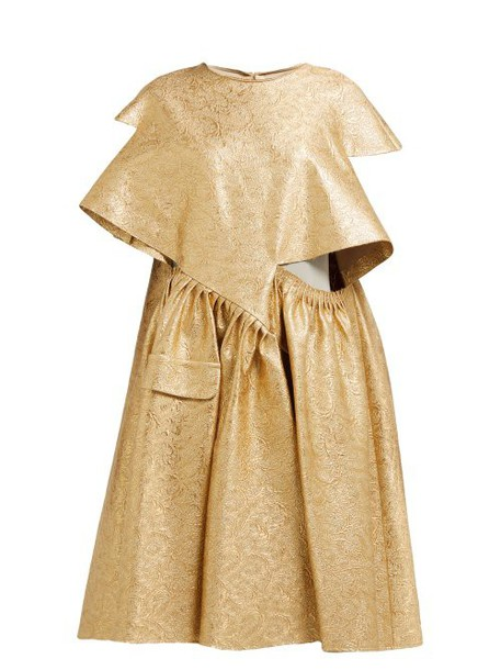 Maison Margiela - Cut Out Cotton Blend Brocade Midi Dress - Womens - Gold