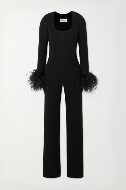 SAINT LAURENT - Feather-trimmed Wool-blend Jumpsuit - Black