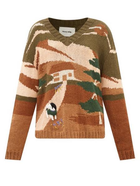 Story mfg. Story Mfg. - Keeping Landscape-intarsia Organic-cotton Sweater - Womens - Khaki Multi