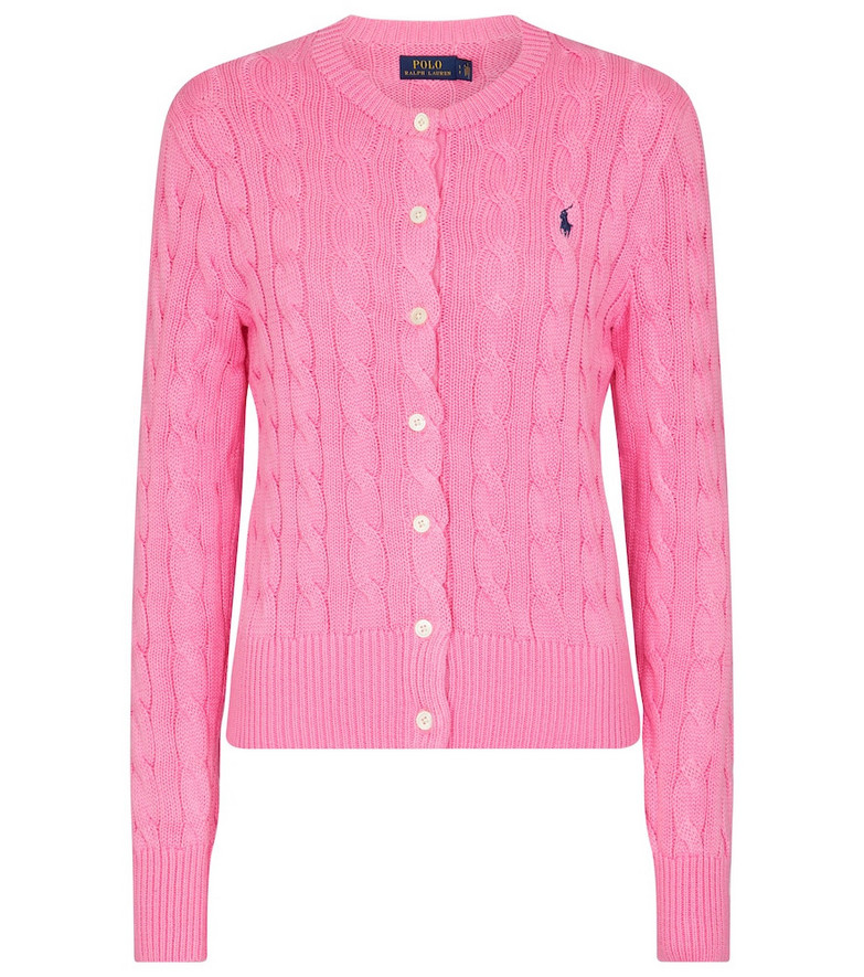 Polo Ralph Lauren Cable-knit cotton cardigan in pink