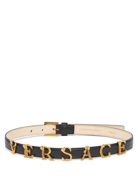 Versace - Baroque Logo Slim Leather Belt - Womens - Black