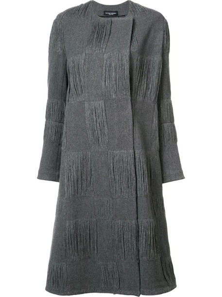 Narciso Rodriguez textured check coat in grey