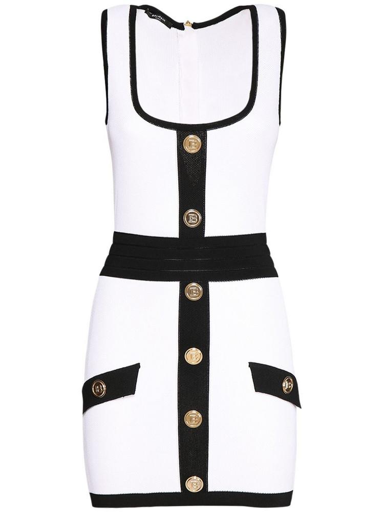 BALMAIN Two-tone Buttoned Knit Mini Dress in black / white