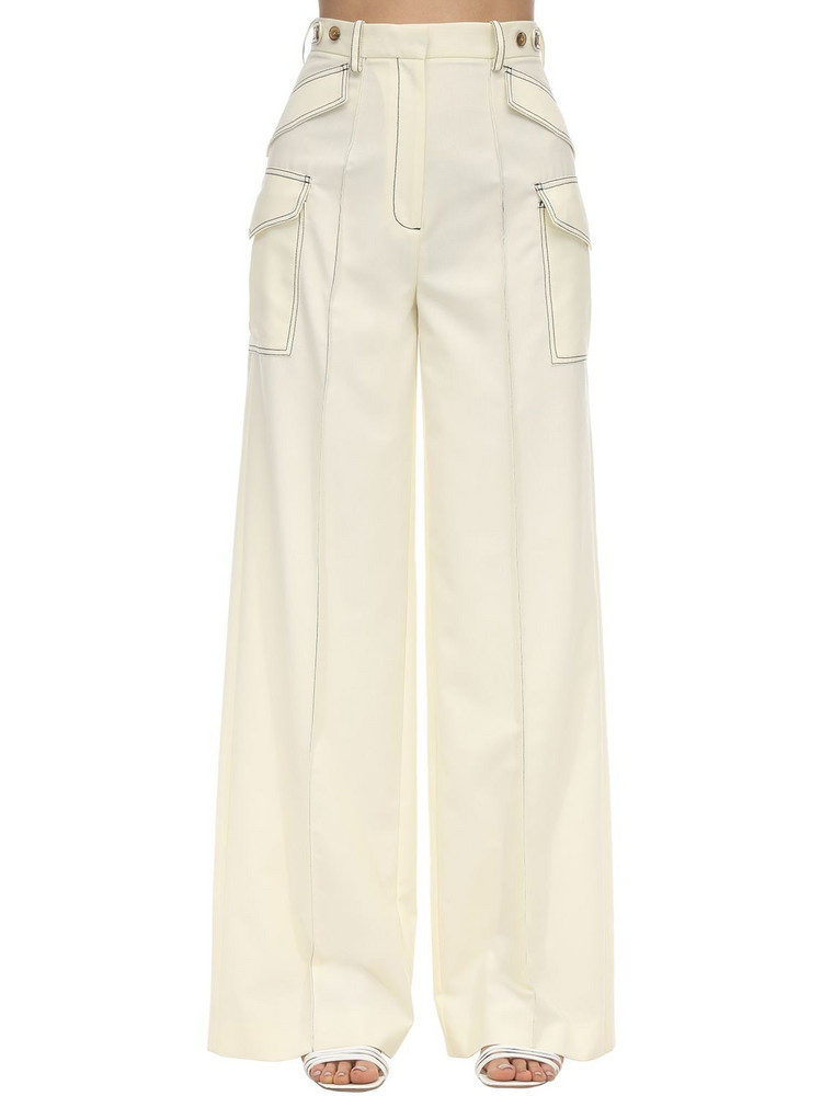 ROKH Contrast Stitching Viscose Blend Pants in white