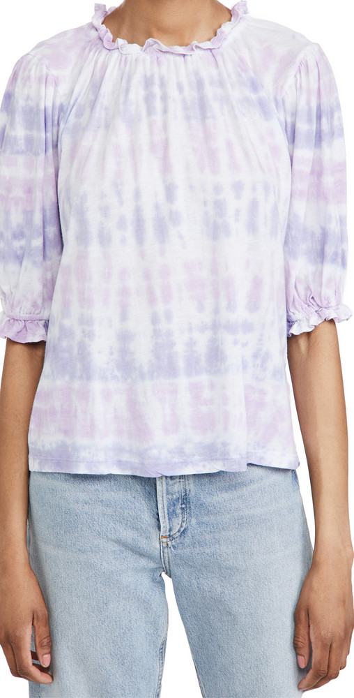 SUNDRY Sherbet Bubble Sleeve Top in blue / violet