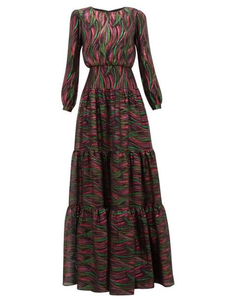 Saloni - Isabel Rainbow Jacquard Silk Blend Dress - Womens - Black Multi
