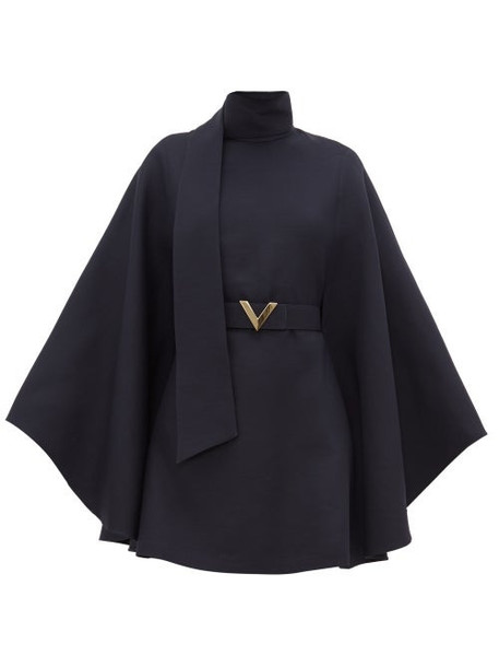 Valentino - Belted Cape-sleeve Wool-blend Mini Dress - Womens - Navy