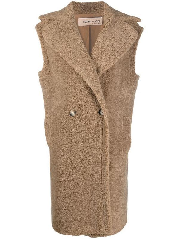 Blanca Vita oversized sherpa sleeveless coat in brown