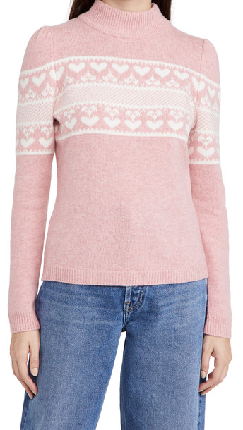 Generation Love Charlie Heart Sweater in pink / white