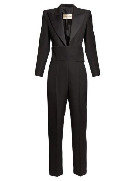 Alexandre Vauthier - V Neck Cummerbund Tuxedo Jumpsuit - Womens - Black