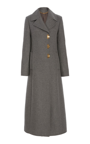 Tory Burch Collared Wool-Blend Coat Size: 00 in grey