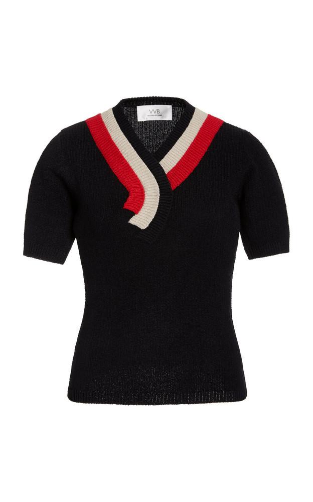Victoria Victoria Beckham Stripe-Detail Knitted Jersey Jumper Top in navy