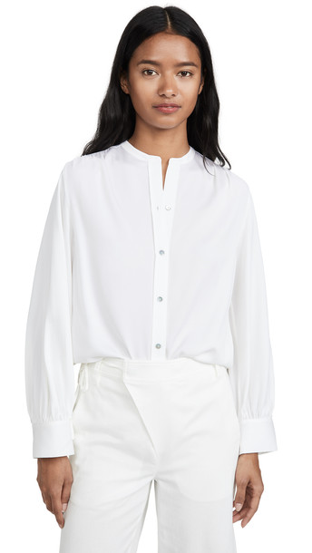 Vince Shirred Back Blouse in white