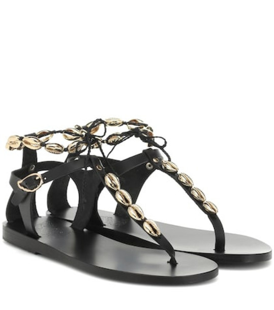 Ancient Greek Sandals Chrysso Shells leather sandals in black