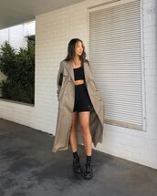 coat,trench coat,long sleeves,black shoes,black shorts,crop tops,black top