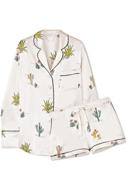 Olivia von Halle - Alba Printed Silk-satin Pajama Set - White