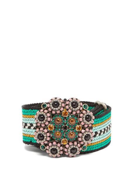 Etro - Crystal Embellished Woven Belt - Womens - Green
