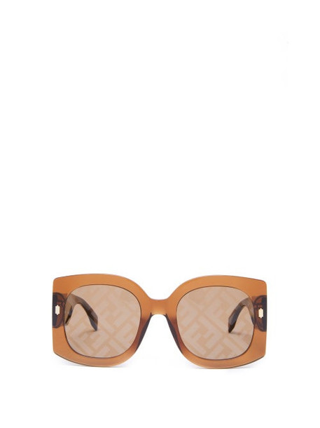 Fendi - Hero Ff-logo Square Acetate Sunglasses - Womens - Brown