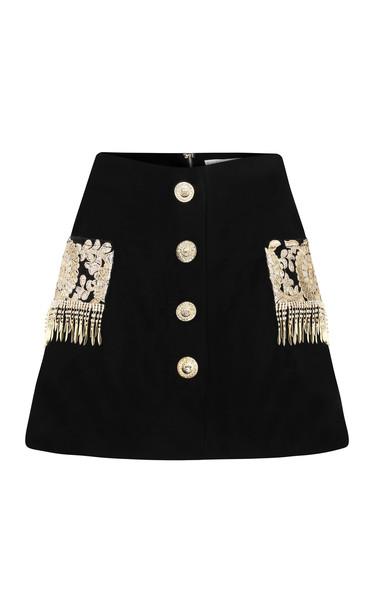 Raisa Vanessa Embroidered Velvet Mini Skirt in black