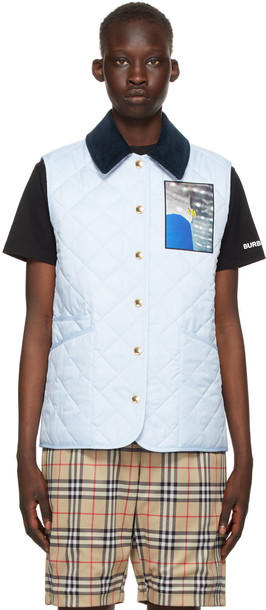 Burberry Reversible Blue & Beige Quilted Vest