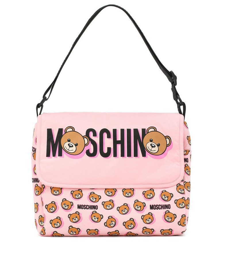 Moschino Kids Logo cotton changing bag in pink