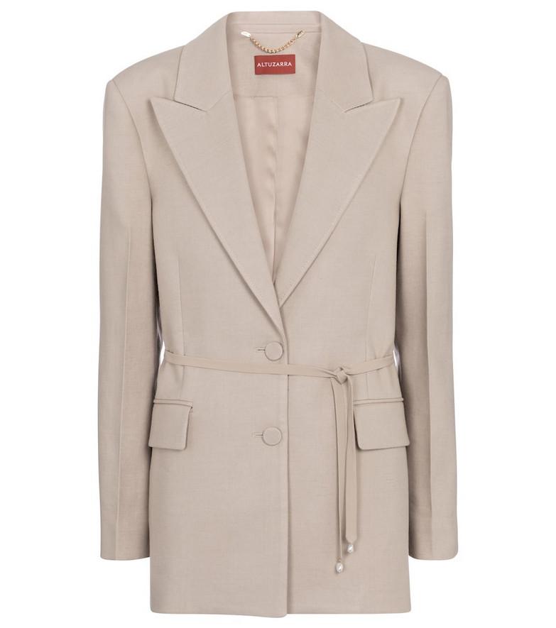 Altuzarra Arbor belted linen-blend blazer in beige