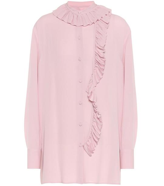 Valentino Ruffled silk-georgette shirt in pink