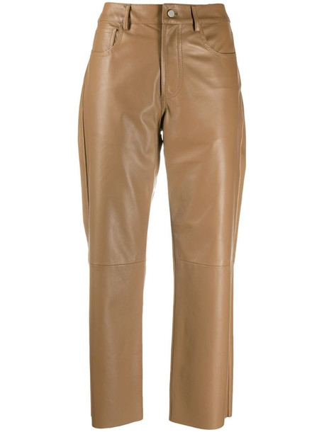 Drome cropped leather trousers in neutrals