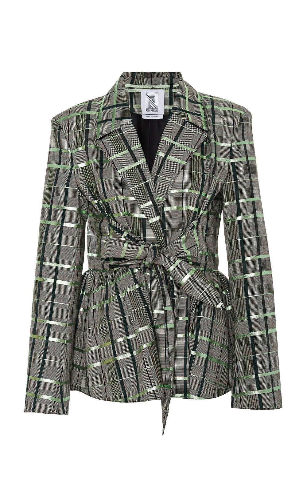 Rosie Assoulin Belted Plaid Wool-Blend Blazer in green