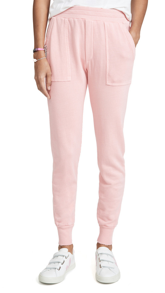MONROW Distressed Cuff Joggers in pink