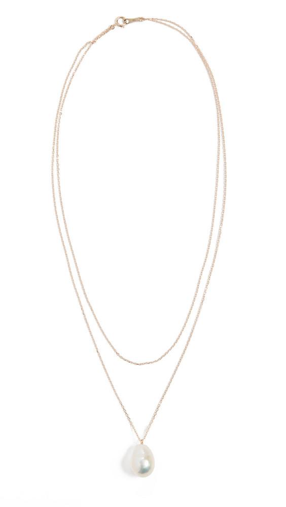 Mizuki Freshwater Pearl Double Wrap Necklace in gold
