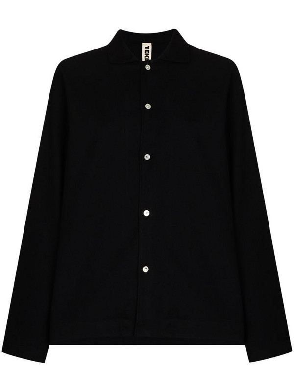 TEKLA flannel cotton pyjama shirt in black
