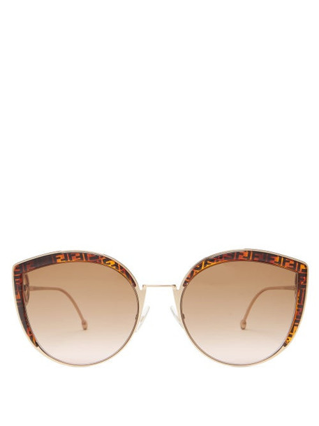 Fendi - F Is Fendi Oversized Cat-eye Metal Sunglasses - Womens - Bronze