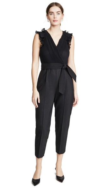 Rebecca Taylor Sleeveless Pleated Jumpsuit in black