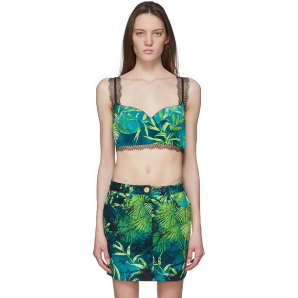 Versace Green Jungle Print Bralette