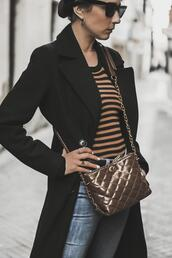 shoes and basics,blogger,shoes,coat,sweater,jeans,bag,black coat,striped sweater