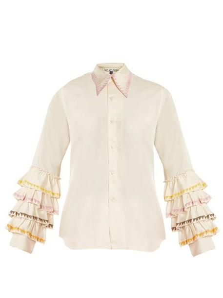 Jupe By Jackie - Wurlali Ruffle Sleeved Silk Shirt - Womens - Cream Multi