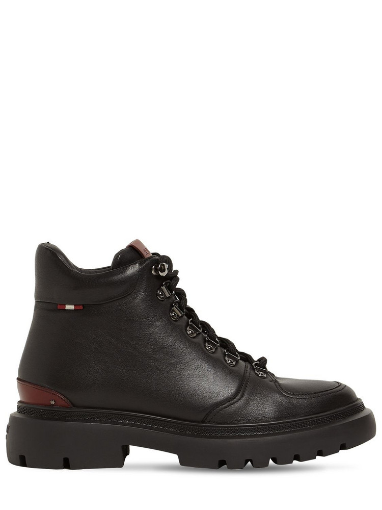 BALLY 30mm Valiant Leather Hiking Boots in black