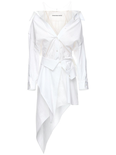 ALEXANDER WANG Deconstructed Cotton Poplin Mini Dress in white