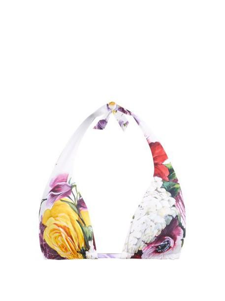 Dolce & Gabbana - Floral Print Halterneck Bikini Top - Womens - Multi