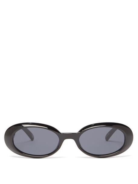 Le Specs - Work It Oval Acetate Sunglasses - Womens - Black