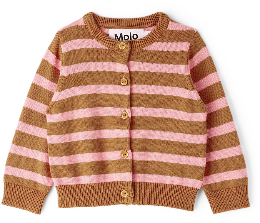 Molo Baby Brown & Pink Stripe Ginny Cardigan in rose