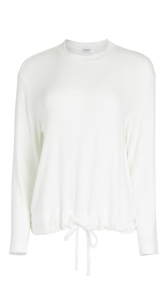 Leset Lori Drawstring Pullover in white