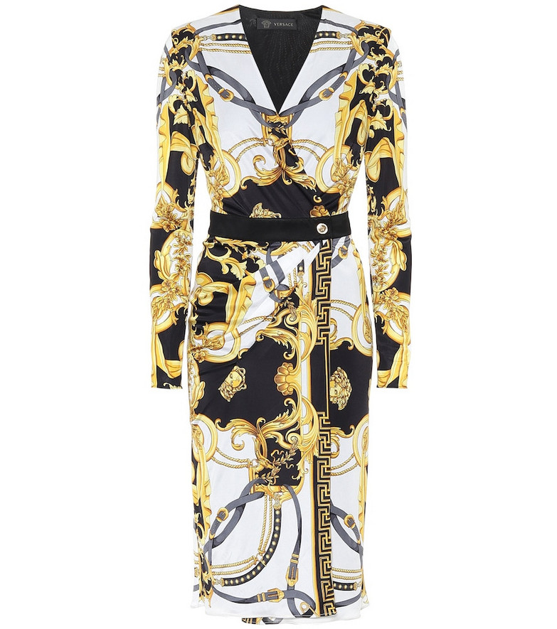 Versace Printed jersey midi dress in yellow