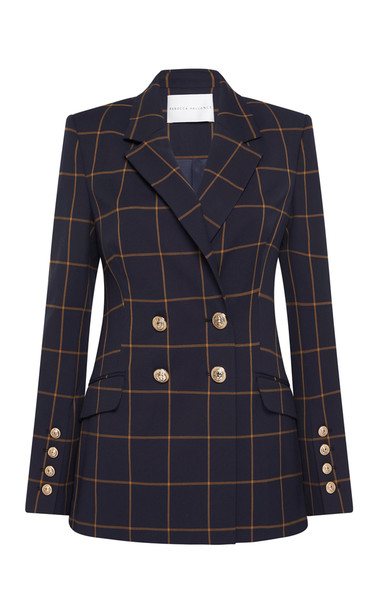 Rebecca Vallance Ines Checked Double-Breasted Blazer in navy