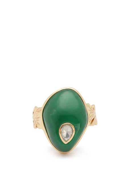 Jade Jagger - Diamond, Emerald & 18kt Gold Ring - Womens - Green