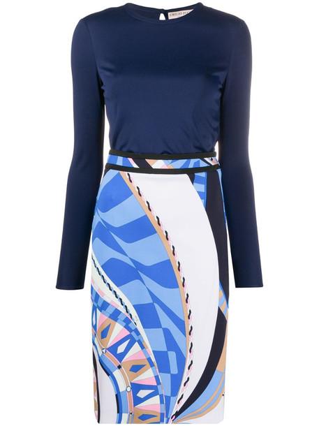 Emilio Pucci geometric print fitted dress in blue