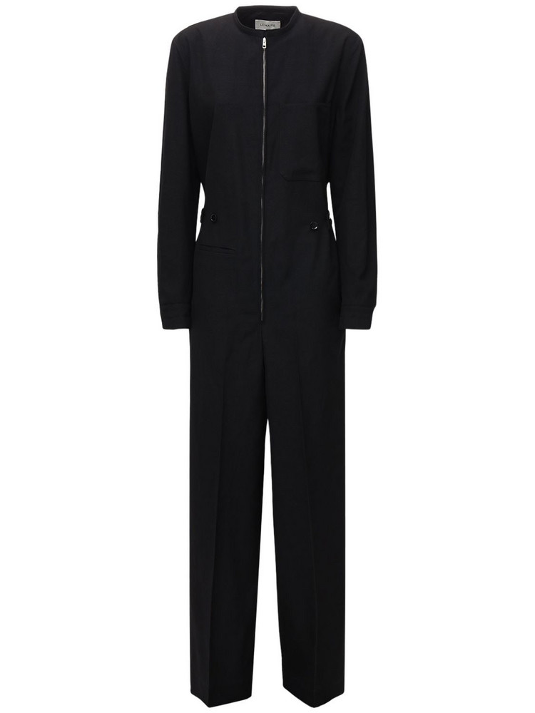LEMAIRE Full Wool Jumpsuit in black