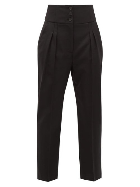 Nili Lotan - Reta Front-pleated Wool-blend Trousers - Womens - Black