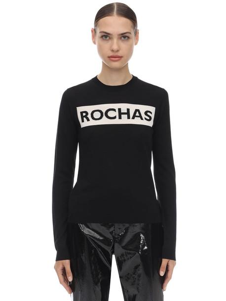 ROCHAS Intarsia Logo Wool Knit Sweater in black